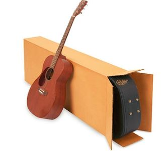 Boxes for shipping guitars - Picture of a guitar case and a shipping box